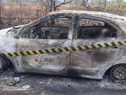 Mulher é sequestrada por criminosos por suposta dívida e corpo é achado carbonizado em carro em MT (Crédito: PM MT)